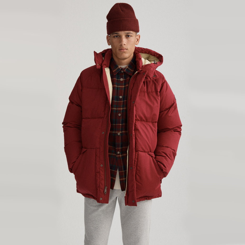 HOODED DOWN COAT - RED