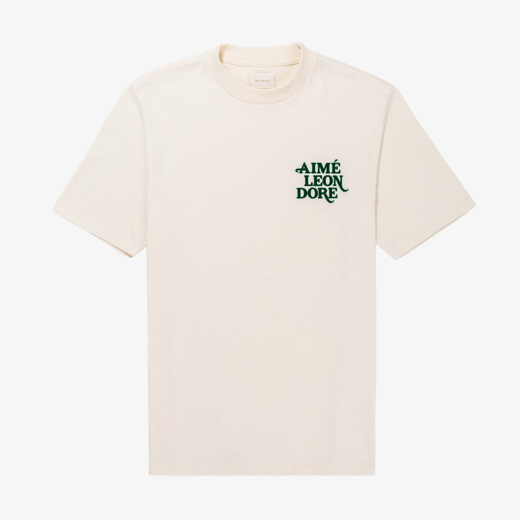 FLOCKED SS TEE - CREAM - Tees Aimé Leon Dore