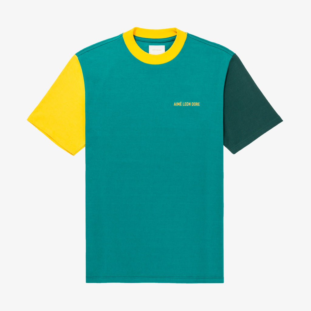 SS COLOR-BLOCKED LOGO TEE - GREEN