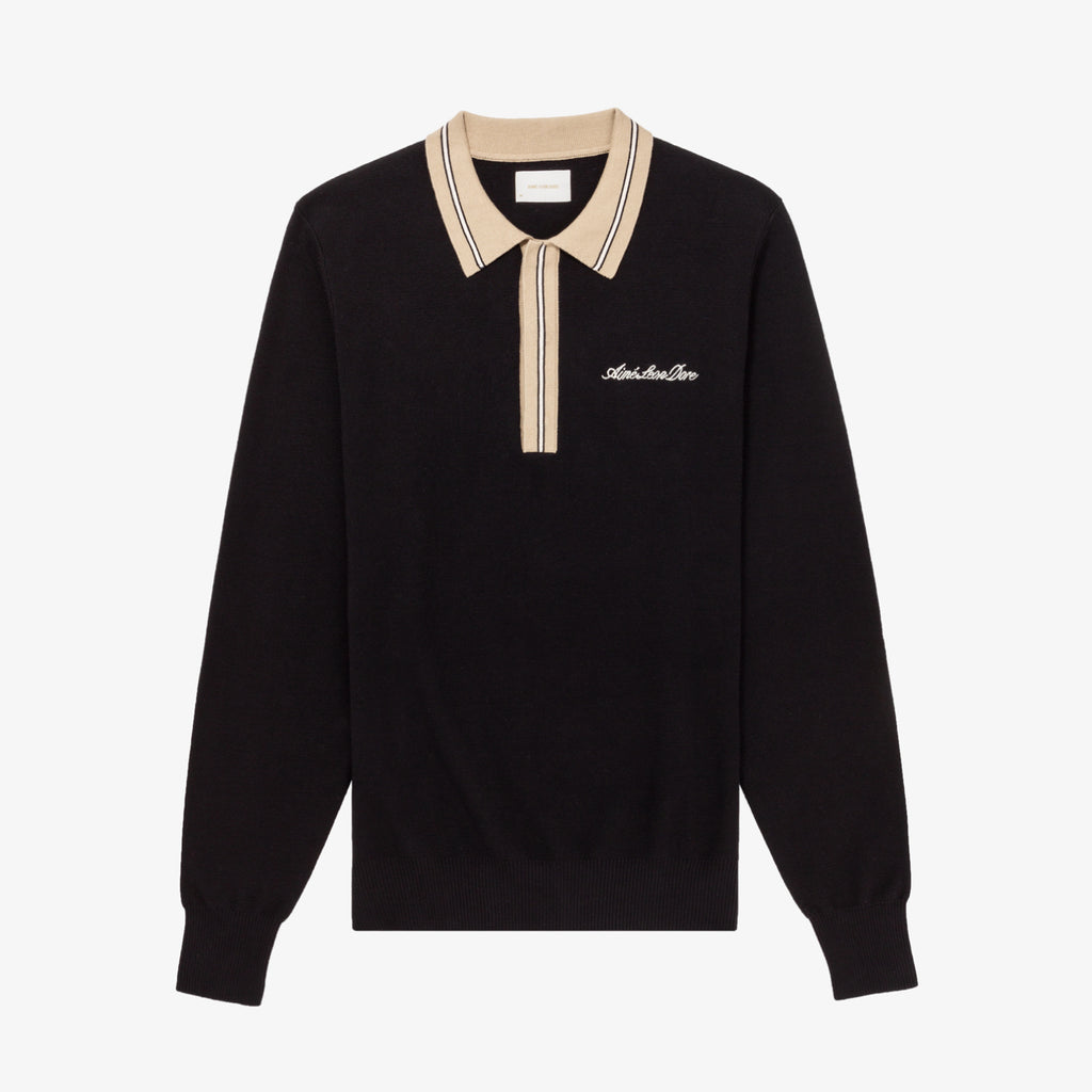 SWEATER KNIT POLO - BLACK