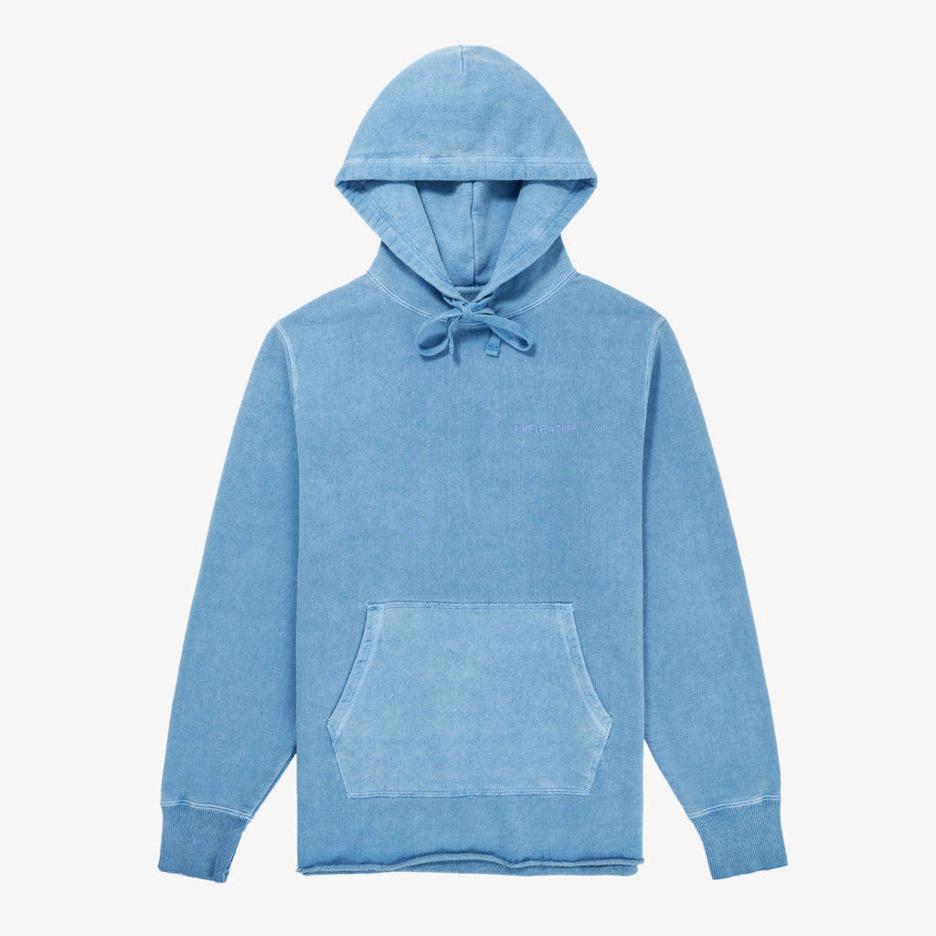 SAND WASHED LOGO HOODIE - BLUE