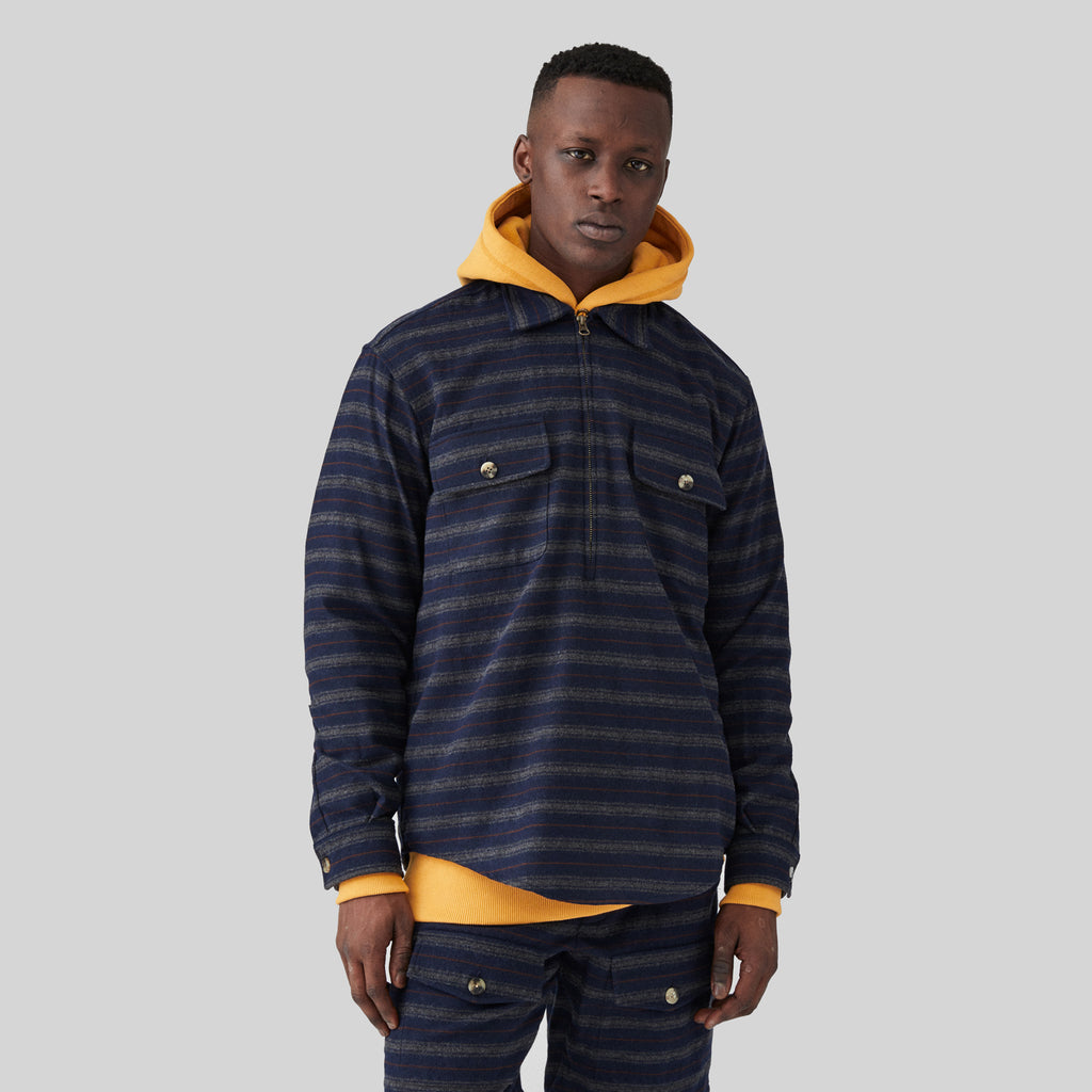 WOOL HALF ZIP PULLOVER-NAVY