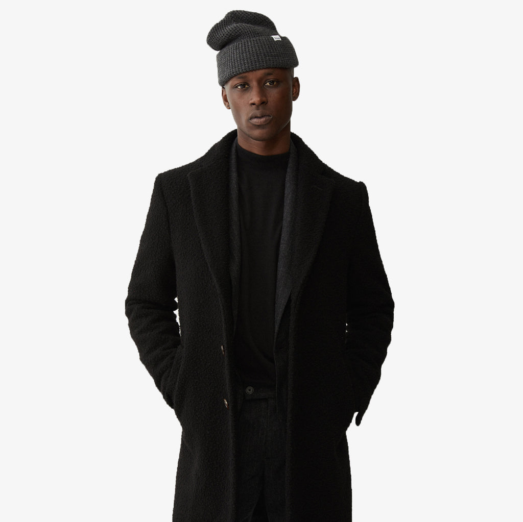 Nubby Wool Top Coat - Black - Outerwear Aimé Leon Dore