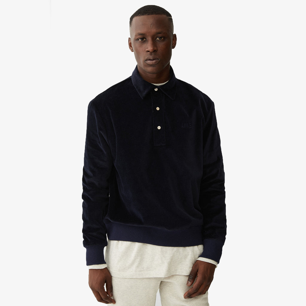 Velveteen Pull Over - Dark Navy - Shirt Aimé Leon Dore