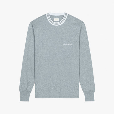 LS RIBBED COLLAR TEE - GREY