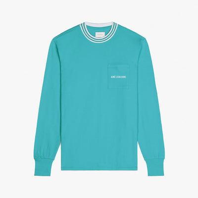 LS RIBBED COLLAR TEE - TEAL