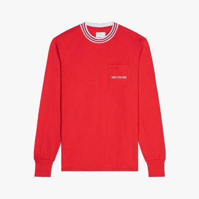 LS RIBBED COLLAR TEE - RED