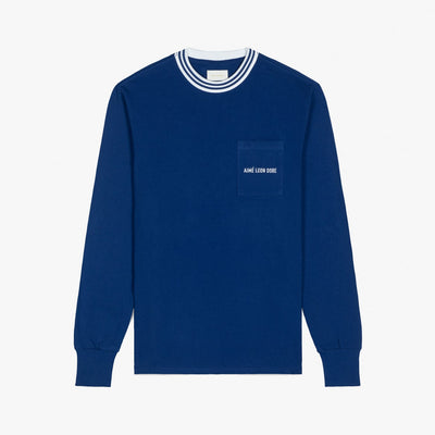 LS RIBBED COLLAR TEE - NAVY