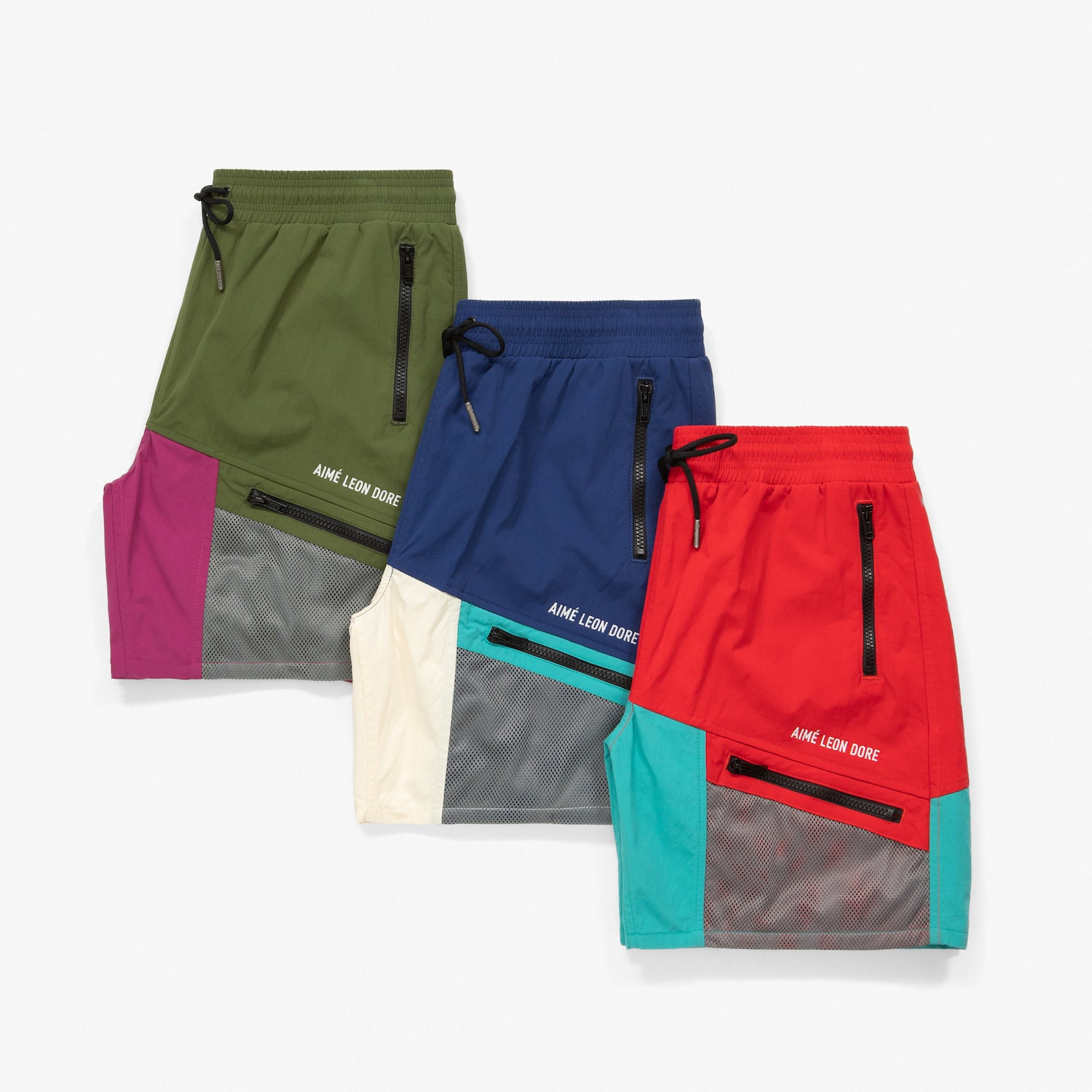 COLOR BLOCKED HIKING SHORTS - RED/TEAL