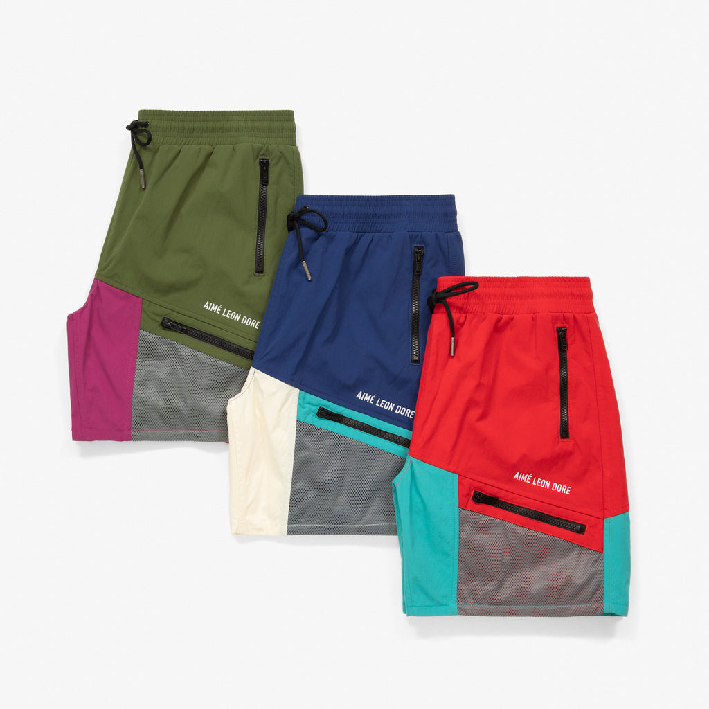 COLOR BLOCKED HIKING SHORTS - CREAM/NAVY - Shorts Aimé Leon Dore