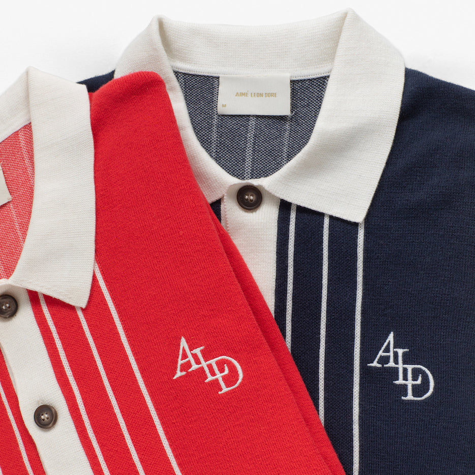 LS STRIPE KNIT POLO - RED