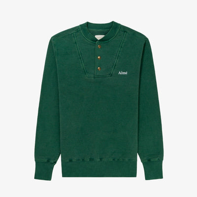 PIGMENT-DYED HENLEY CREWNECK