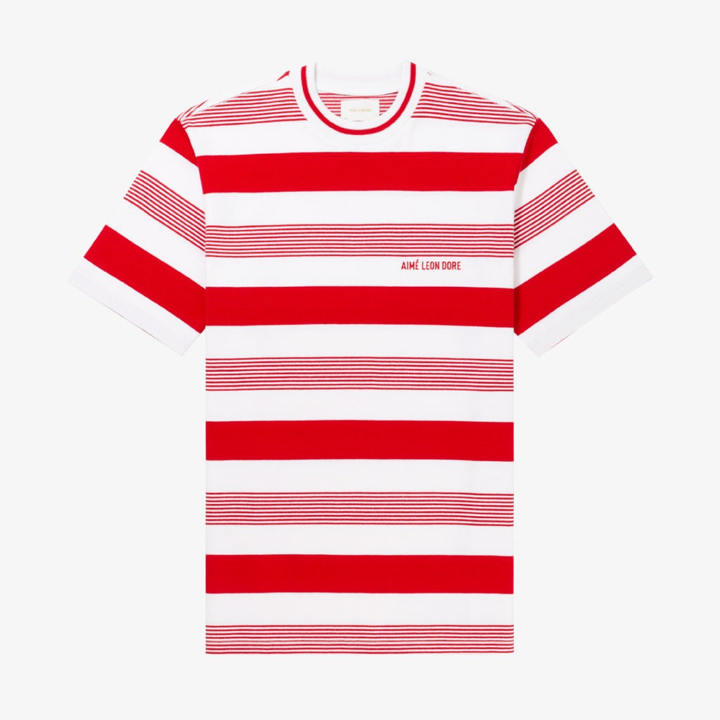 VARIEGATED STRIPE LOGO TEE