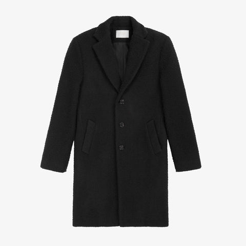 Nubby Wool Top Coat - Black