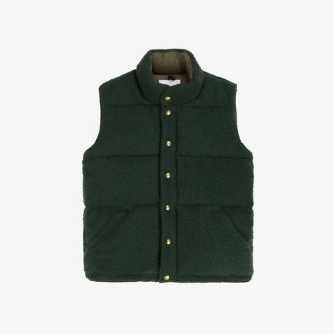 Nubby Wool Down Vest - Olive