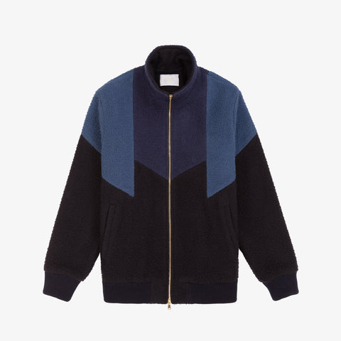 Nubby Wool Track Jacket - Multi Blue