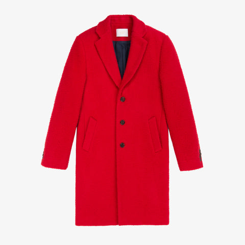 Nubby Wool Top Coat - Red
