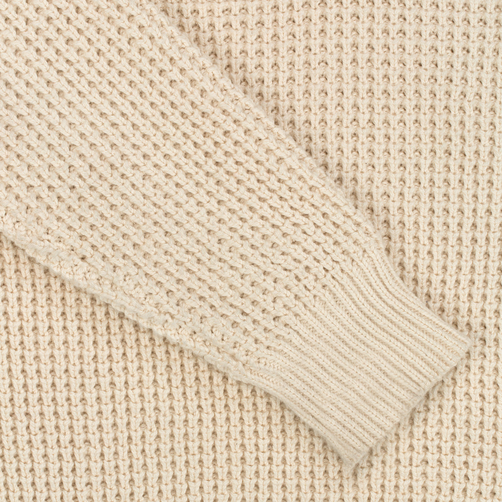 Waffle Knit V-Neck Sweater - Natural - Crewneck Aimé Leon Dore