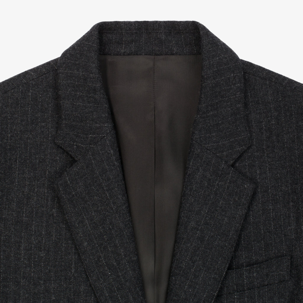 Merino Cashmere Single Button Blazer - Grey Pinstripe - Outerwear Aimé Leon Dore