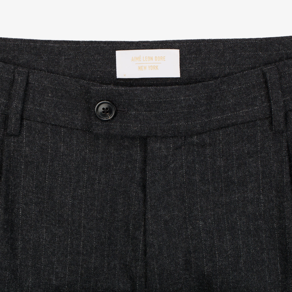 Merino Cashmere Single Pleat Trouser - Grey Pinstripe - Bottoms Aimé Leon Dore