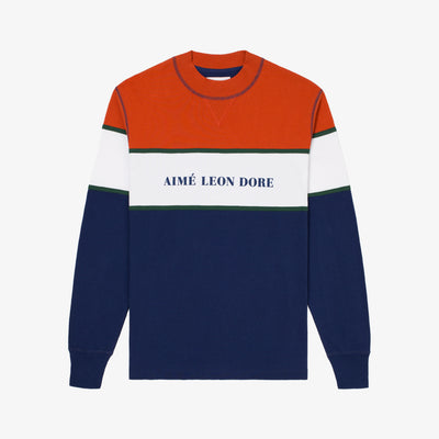 COLOR BLOCKED LOGO CREW-NAVY - Sweatshirt Aimé Leon Dore
