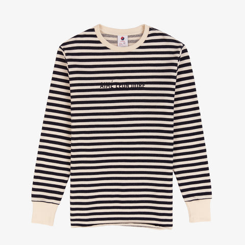 Stripe Logo Sweatshirt - Natural/Dark Navy