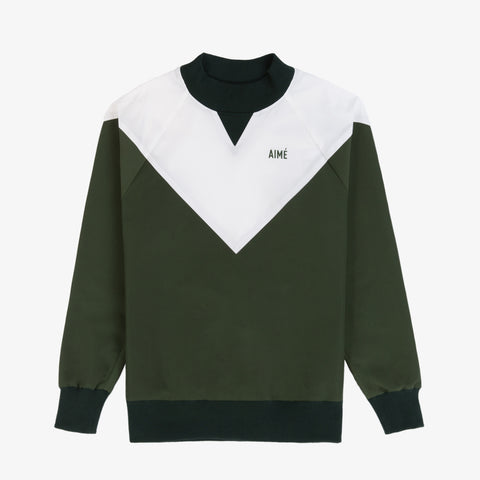 Water-Repellent Pull Over - Olive/White