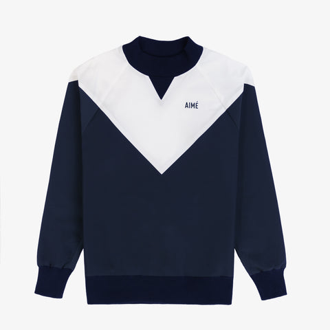 Water-Repellent Pull Over - Navy/White