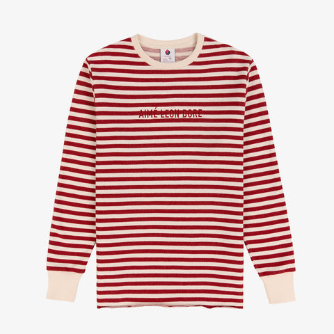 Stripe Logo Sweatshirt - Natural/Dark Red