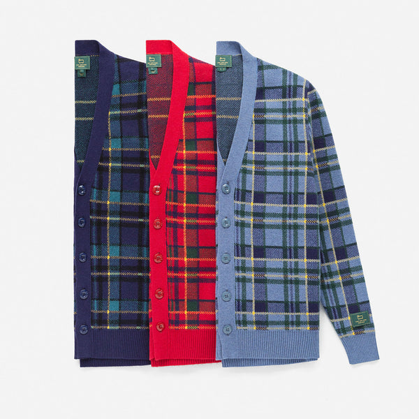 WOOL PLAID CARDIGAN - RED