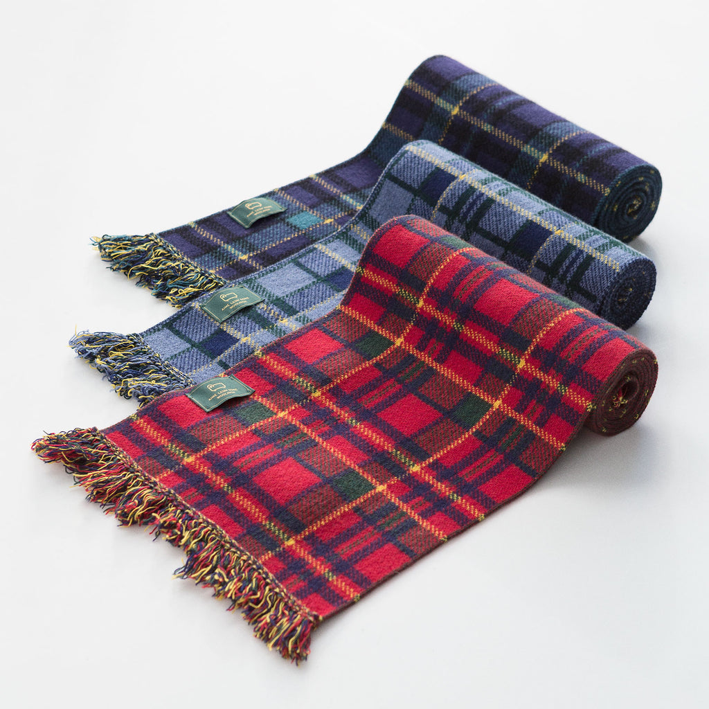 MERINO PLAID SCARF - NAVY