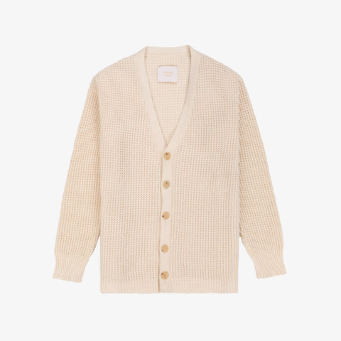 Waffle Knit Cardigan Sweater - Natural