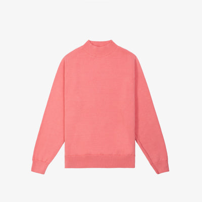 LIGHT-WEIGHT MOCKNECK KNIT-PINK