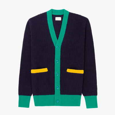 COLOR-BLOCKED KNIT CARDIGAN