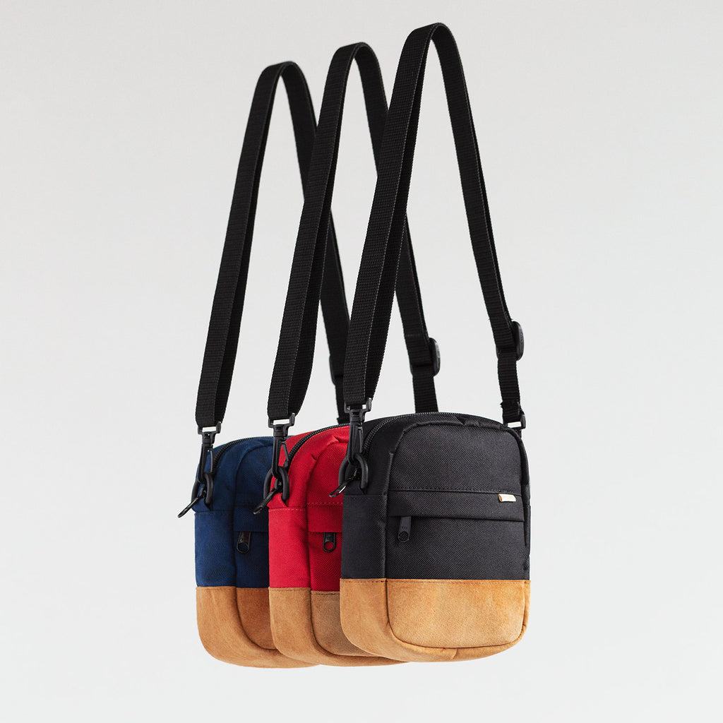 NYLON/SUEDE SHOULDER BAG - NAVY