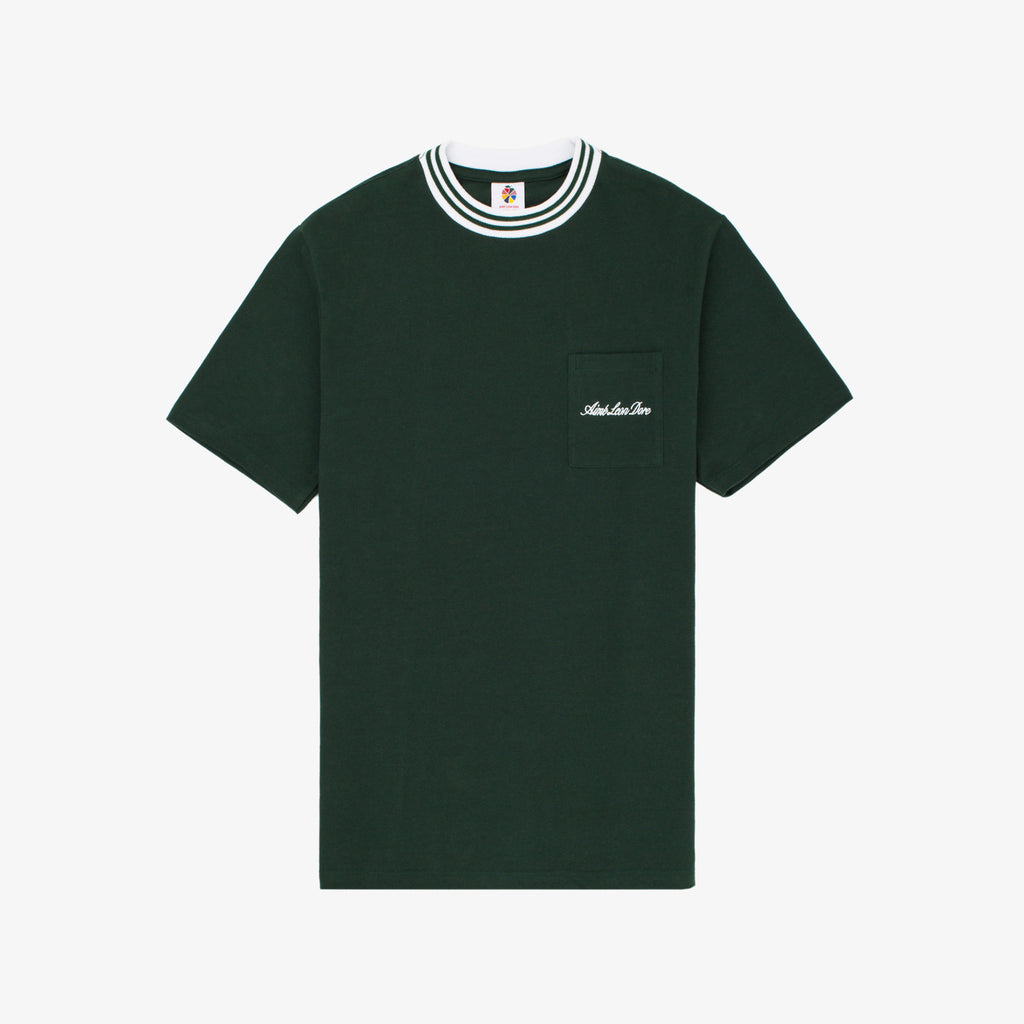 Ribbed Collar Tee - Green - Shirt Aimé Leon Dore