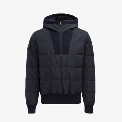 QUILTED DOWN PULLOVER JACKET-NAVY