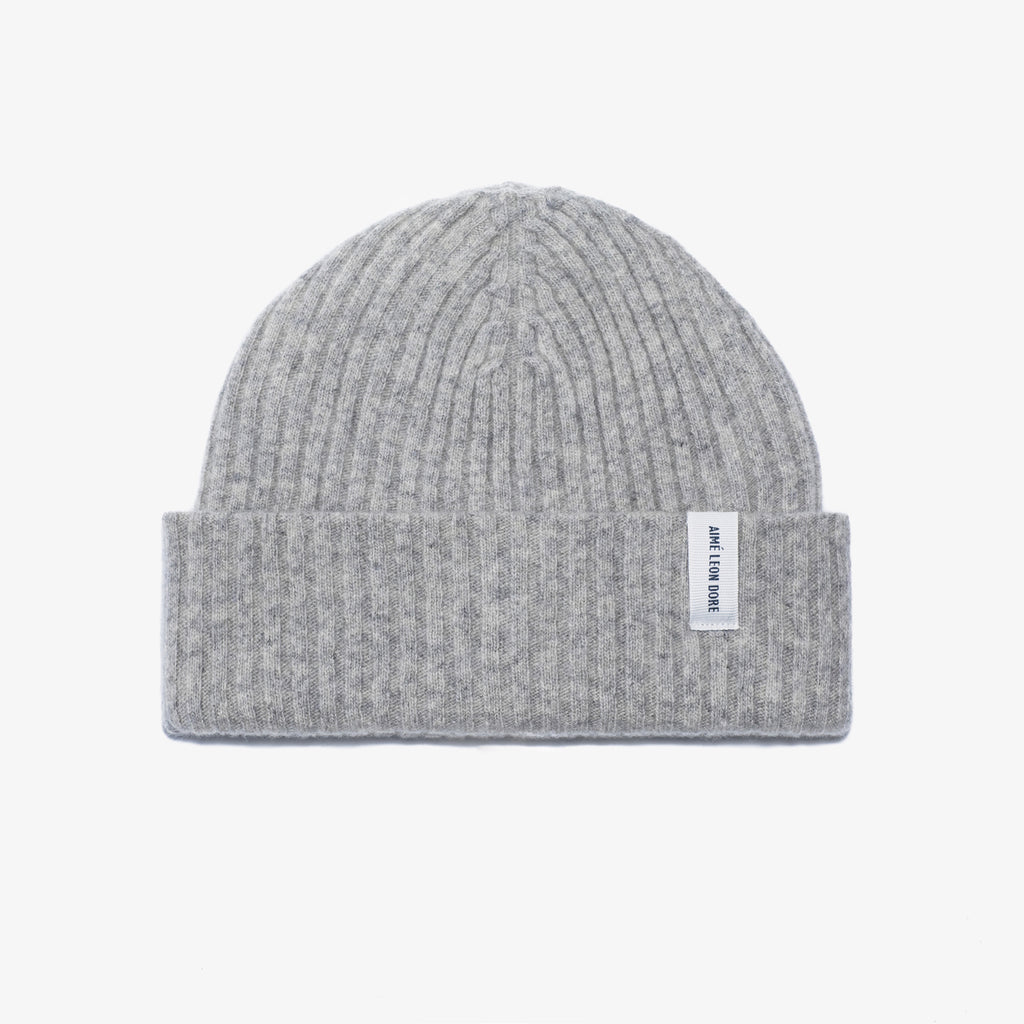 MERINO CASHMERE BEANIE-HEATHER GREY - Hats Aimé Leon Dore