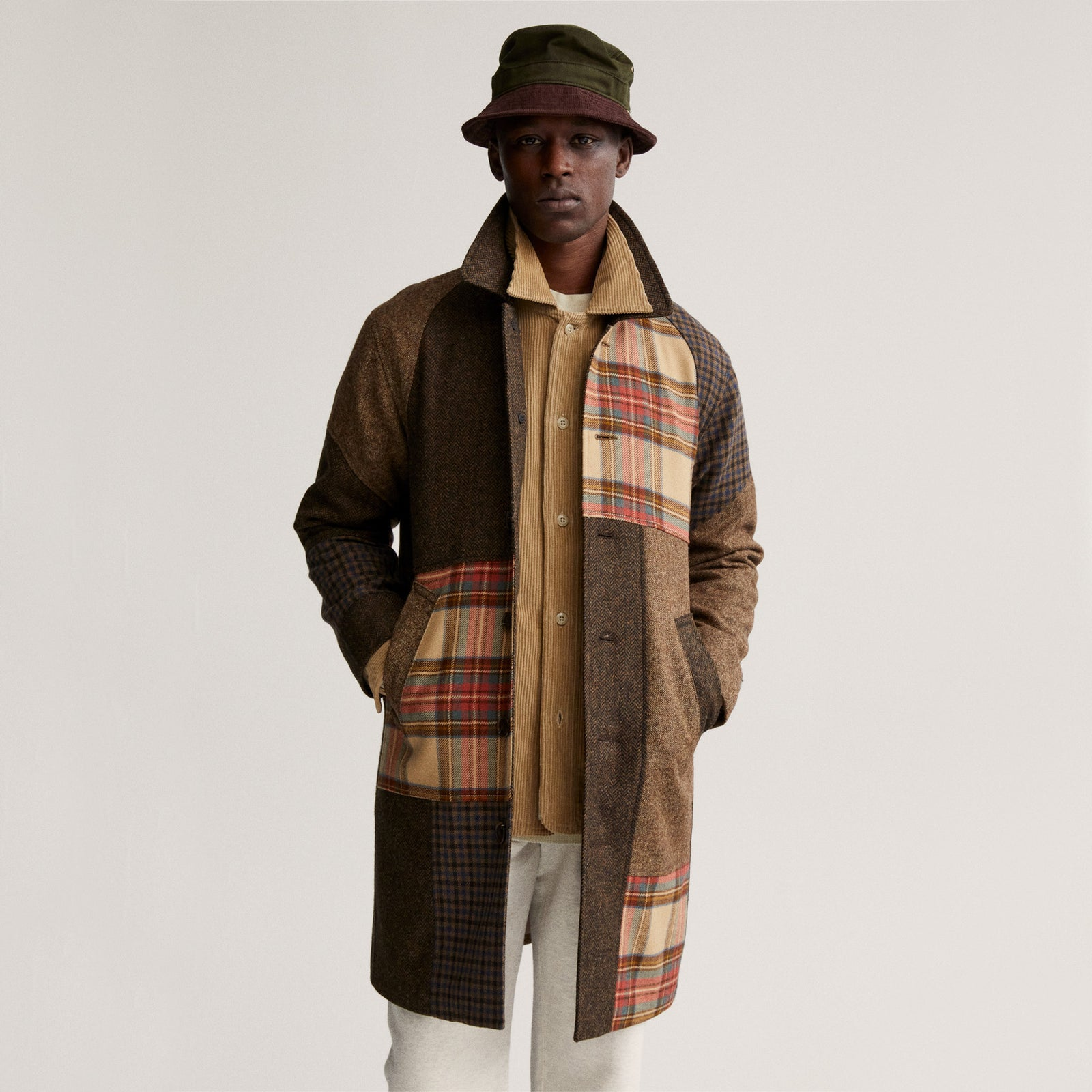 Wool Patchwork Commuter Coat