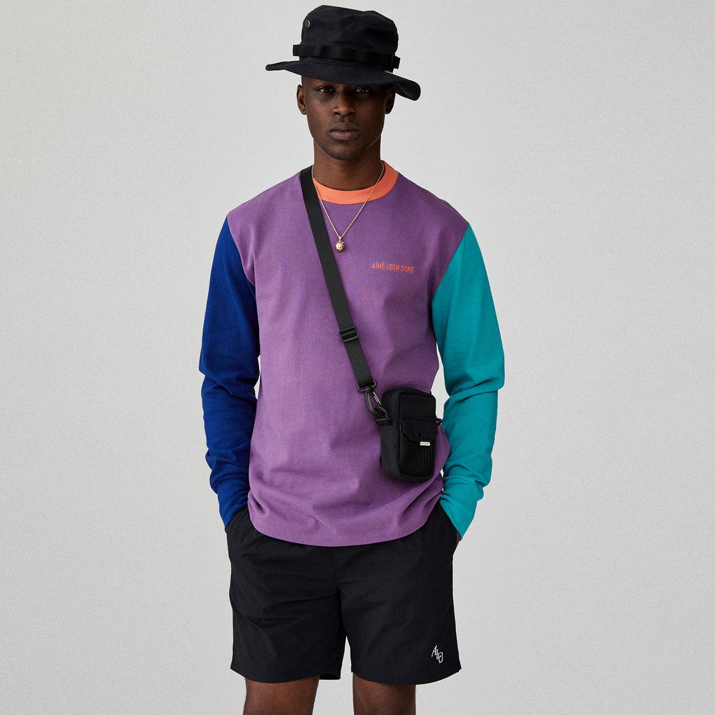 LS COLOR BLOCKED LOGO TEE - PURPLE TAPE