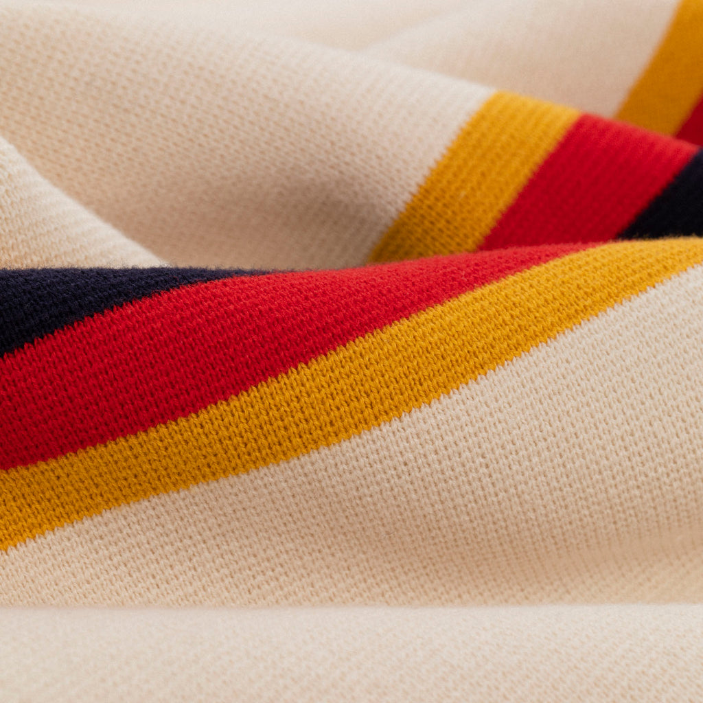 RETRO STRIPE FULL BUTTON POLO SWEATER