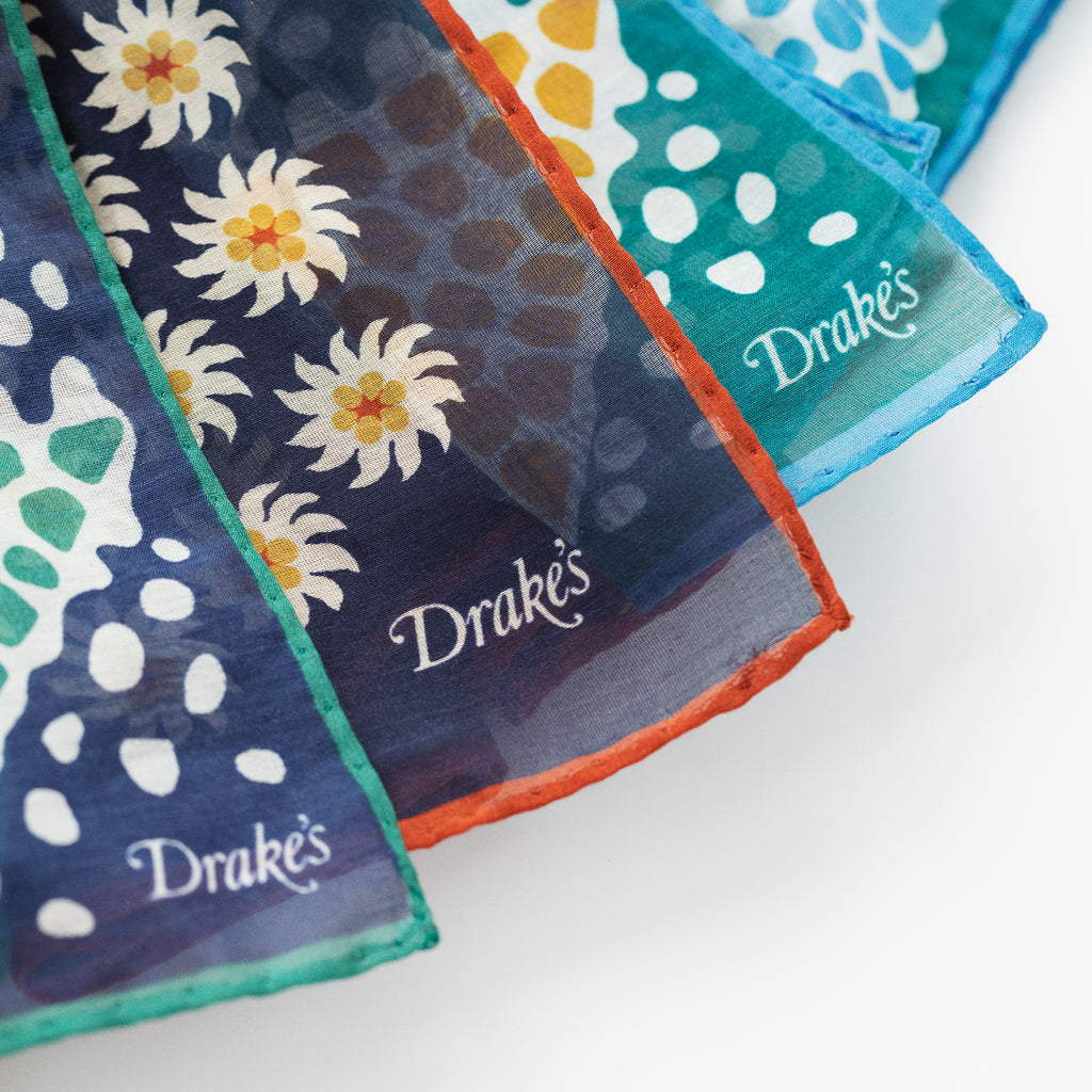 DRAKE'S TRIANGLE MOSAIC PRINTED SCARF