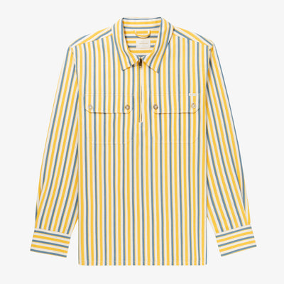 STRIPED HALF-ZIP WORK SHIRT