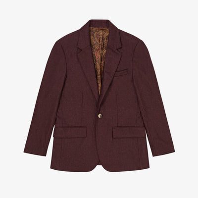 SINGLE-BUTTON CASHMERE JACKET-MAROON