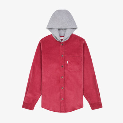 CORDUROY HOODIE - LIGHT RED