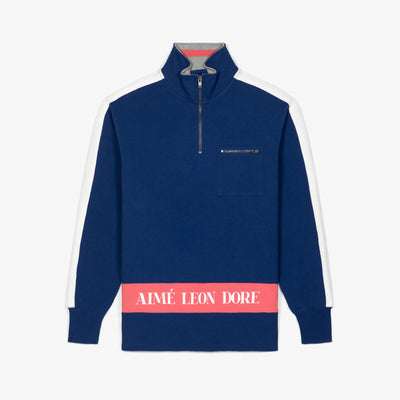 RIBBED COLLAR QUARTER ZIP PULLOVER - NAVY