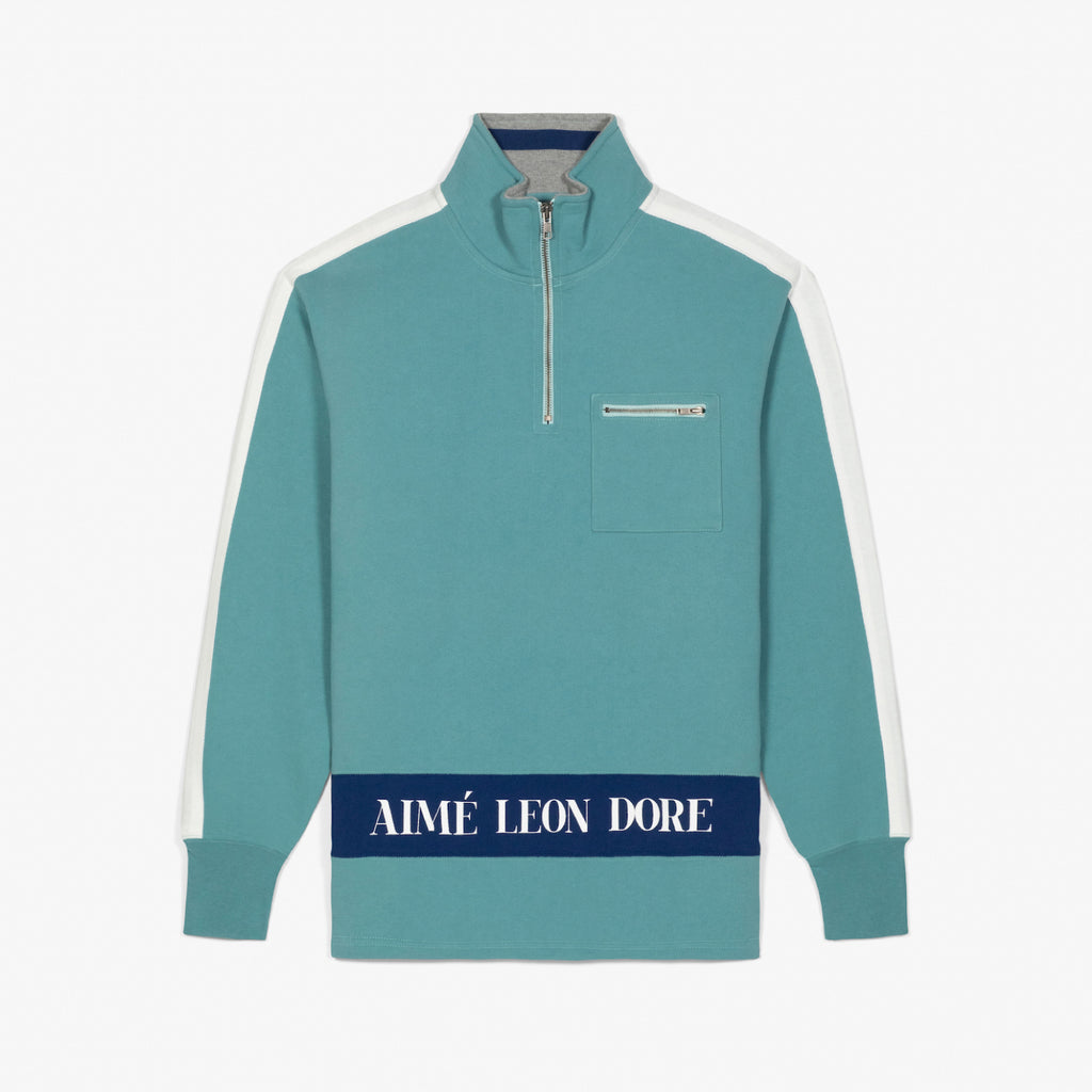 RIBBED COLLAR QUARTER ZIP PULLOVER - TEAL