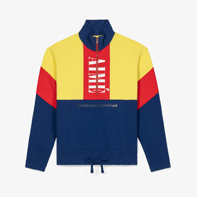 COLOR BLOCKED QUARTER ZIP PULLOVER - YELLOW/NAVY - Sweatshirt Aimé Leon Dore
