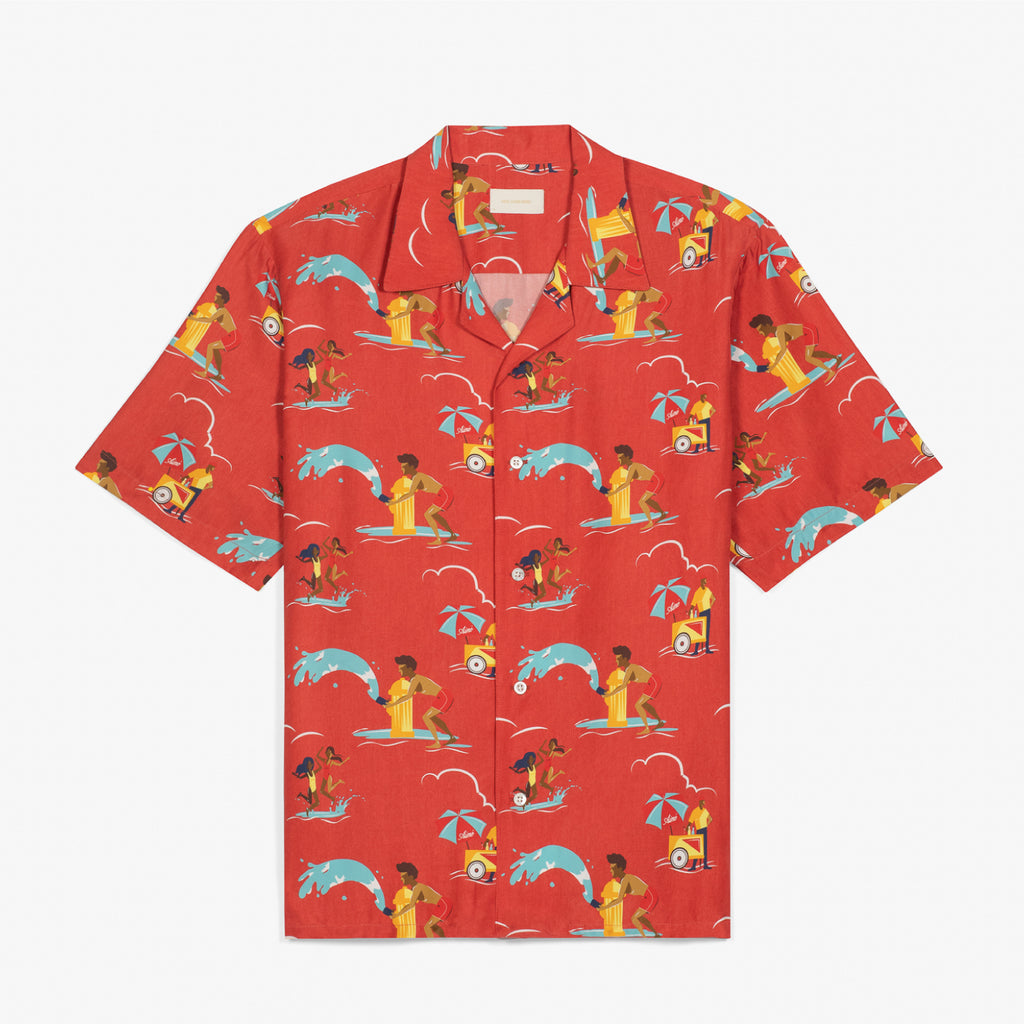 BLOCK PARTY LEISURE SHIRT - RED - Woven Shirts Aimé Leon Dore