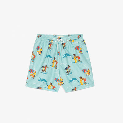 BLOCK PARTY SWIM TRUNKS - TEAL - Shorts Aimé Leon Dore